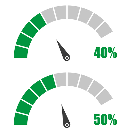 40 50: Set of speedometer or rating meter signs infographic gauge element with percent 40, 50