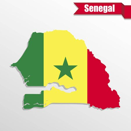 Senegal map with flag inside and ribbon