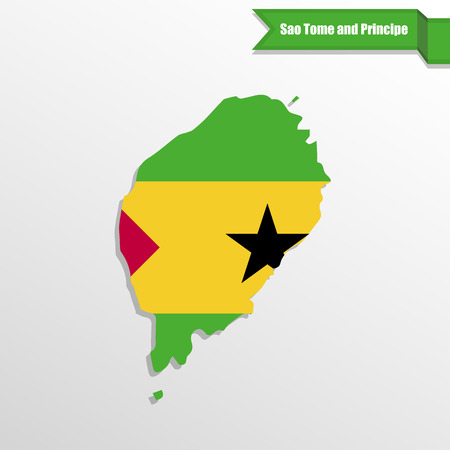Sao Tome and Principe map with flag inside and ribbon