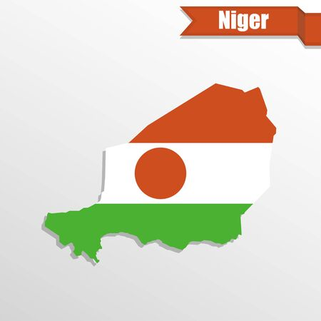 mainland: Niger map with flag inside and ribbon Illustration