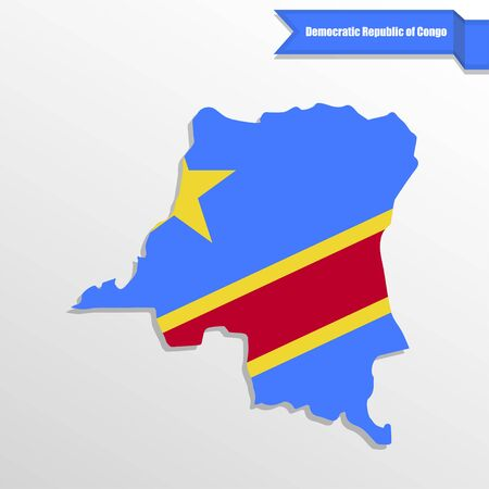 democratic: Democratic Repuplic of Congo map with flag inside and ribbon Illustration
