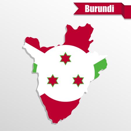 Burundi map with flag inside and ribbon