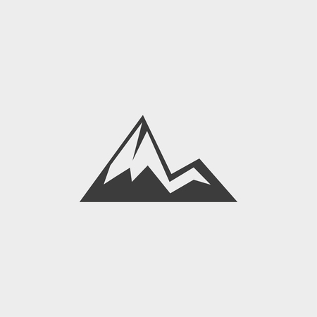 Mountain icon in a flat design in black color. Illustration
