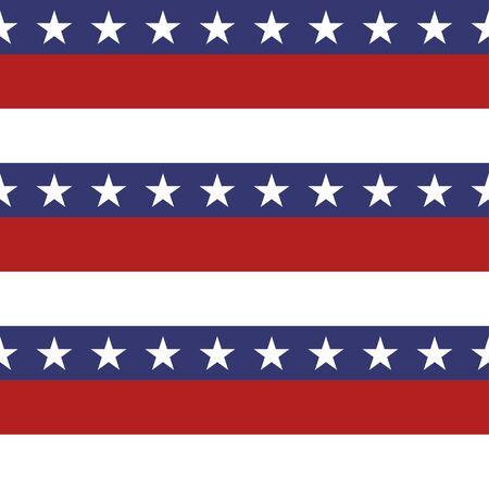 アメリカ愛国心が強い星とストライプのシームレスなパターンの鮮やかな赤、青、白