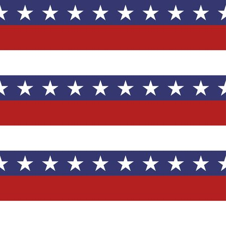 미국의 애국 스타와 밝은 빨강, 파랑 및 흰색 줄무늬 원활한 패턴