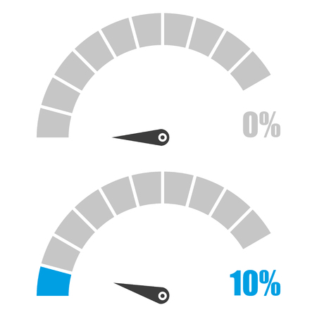 Set of speedometer or rating meter signs infographic gauge element with percent 0, 10