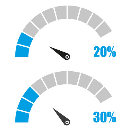 Set of speedometer or rating meter signs infographic gauge element with percent 20, 30 Vectores