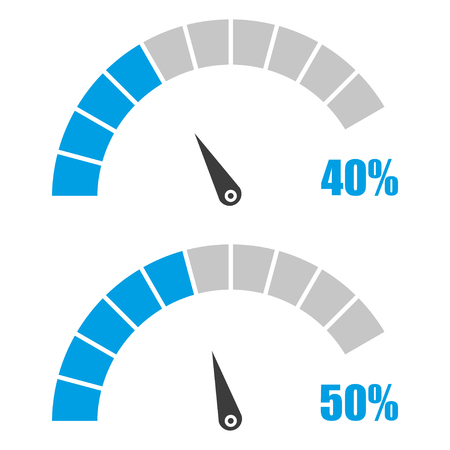 Set of speedometer or rating meter signs infographic gauge element with percent 40, 50