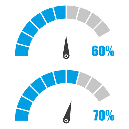 Set of speedometer or rating meter signs infographic gauge element with percent 60, 70