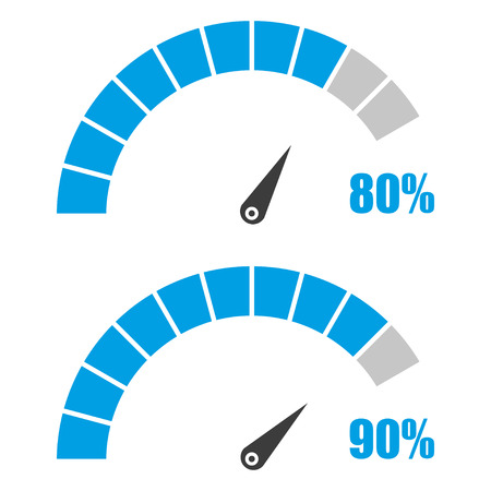 Set of speedometer or rating meter signs infographic gauge element with percent 80, 90 Illustration