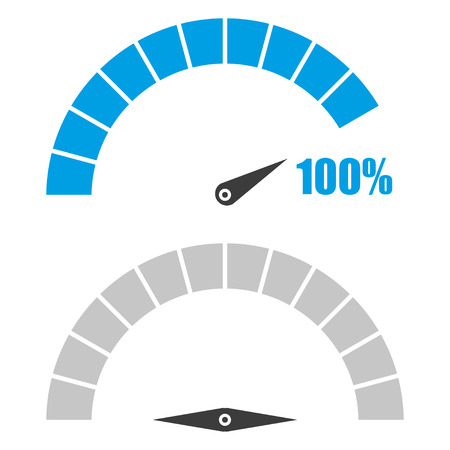 rating meter: Set of speedometer or rating meter signs infographic gauge element with percent 100 Illustration