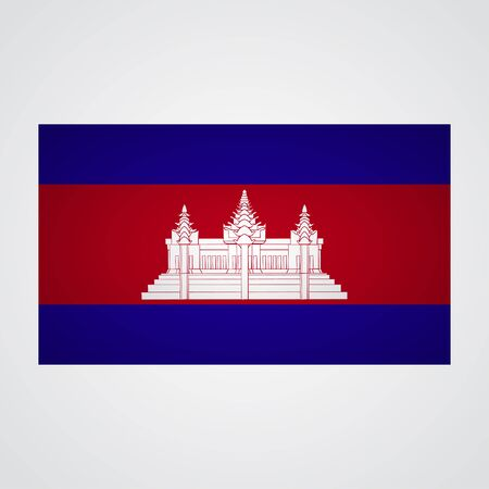 cambodian flag: Cambodia flag on a gray background. Vector illustration Illustration