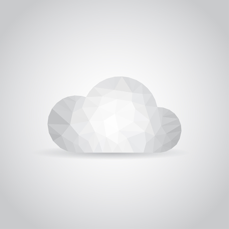 analogy: Cloud icon in polygonal style on a gray background