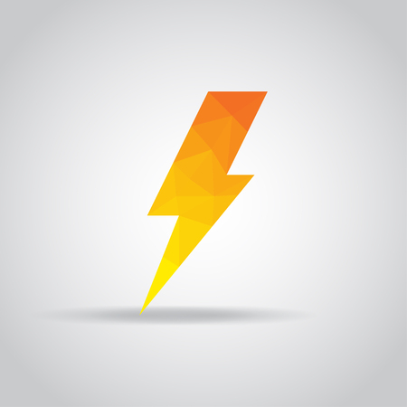 perilous: Lightning icon in polygonal on a gray background