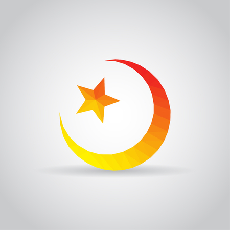Star and crescent icon in polygonal style on a gray background Illustration