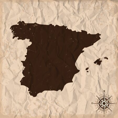 kingdom of spain: Spain old map with grunge and crumpled paper