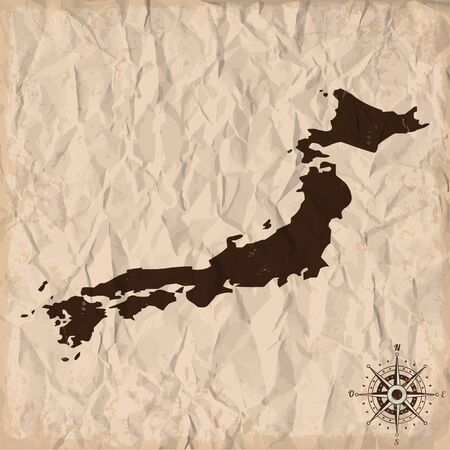 Japan old map with grunge and crumpled paper