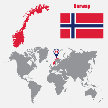 Norway map on a world map with flag and map pointer. Vector illustration