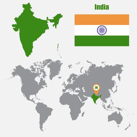 Carte de l'Inde sur une carte du monde avec un drapeau et un pointeur de carte. Illustration vectorielle
