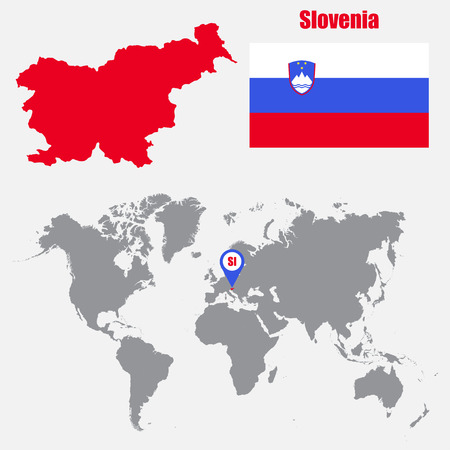 slovenian: Slovenia map on a world map with flag and map pointer. Vector illustration