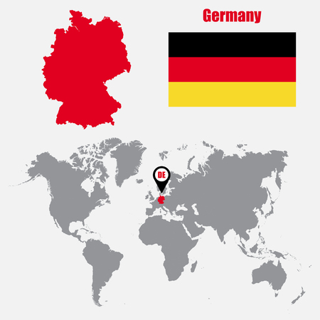 World Map With Zoom On Germany Map In Loupe Vector Illustration