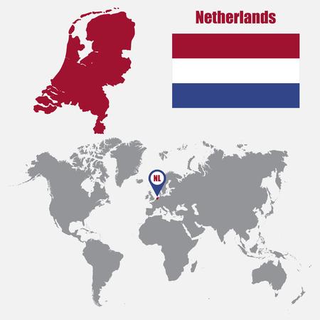 Nederland kaart op een wereldkaart met vlag en wijzer. vector illustratie