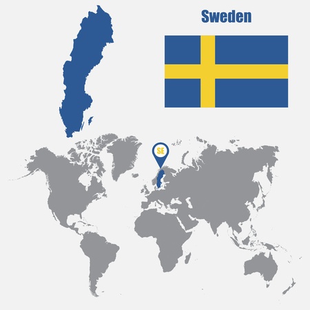 Sweden map on a world map with flag and map pointer. Vector illustration