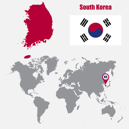 South Korea map on a world map with flag and map pointer. Vector illustration Illustration