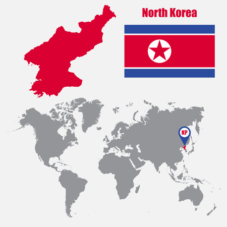 61567569 north korea map on a world map with flag and map pointer vector illustration