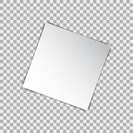 square sheet: White blank square poster mockup, sheet of paper on isolated background. Vector illustration Illustration