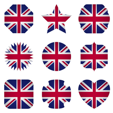souvenir: UK flag with different shapes on a white background Illustration