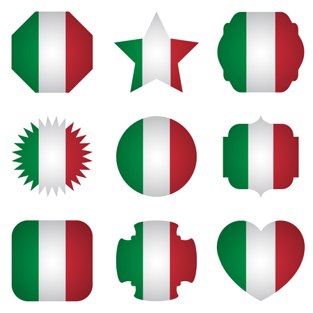 Italy flag with different shapes on a white background