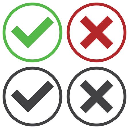 green check mark: Set of four simple web buttons: green check mark and red cross in two variants