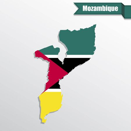 mozambique: Mozambique map with flag inside and ribbon
