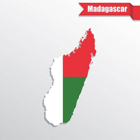 madagascar: Madagascar map with flag inside and ribbon