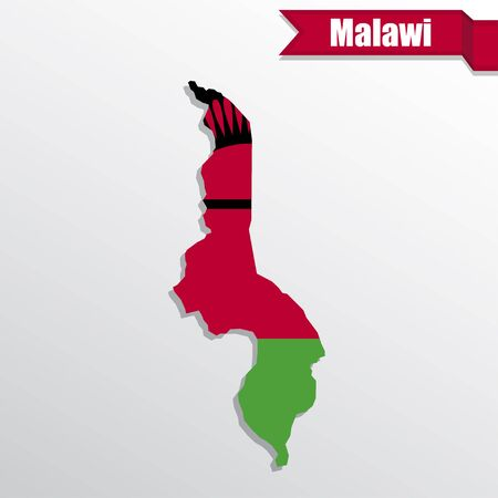 Malawi map with flag inside and ribbon