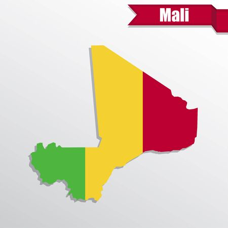 mali: Mali map with flag inside and ribbon