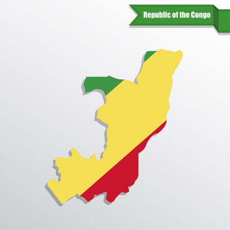 Republic of the Congo map with flag inside and ribbon
