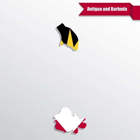 shilouette: Antigua and Barbuda map with flag inside and ribbon