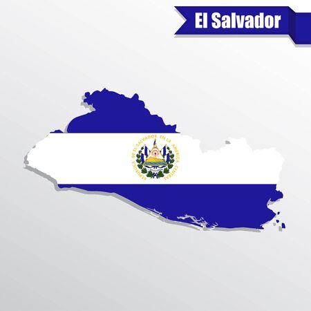 mapa de el salvador: Mapa de El Salvador con la bandera en el interior y la cinta