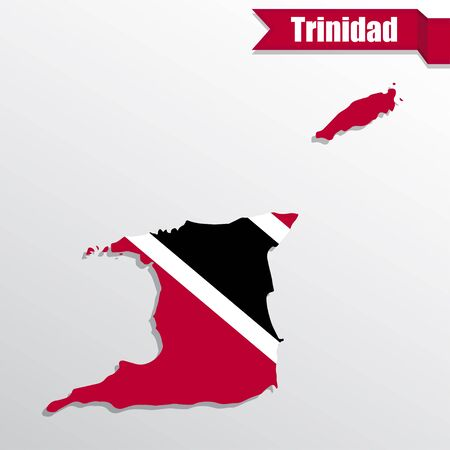 Trinidad map with flag inside and ribbon
