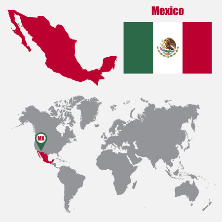 Mexico map on a world map with flag and map pointer. Vector illustration