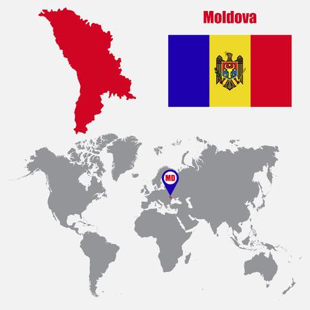 mapa Moldova en un mapa del mundo con la bandera y el puntero del mapa. ilustración vectorial