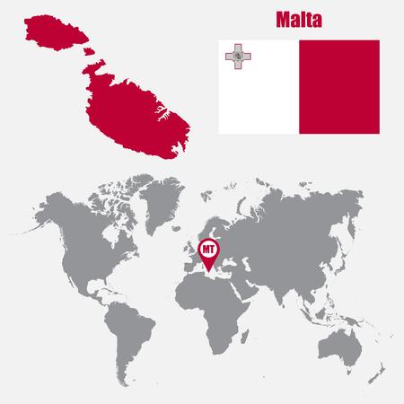 マルタはフラグを使って世界地図上にマップし、ポインターをマップします。ベクトル図