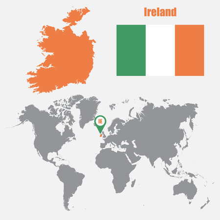 ireland map: Ireland map on a world map with flag and map pointer. Vector illustration