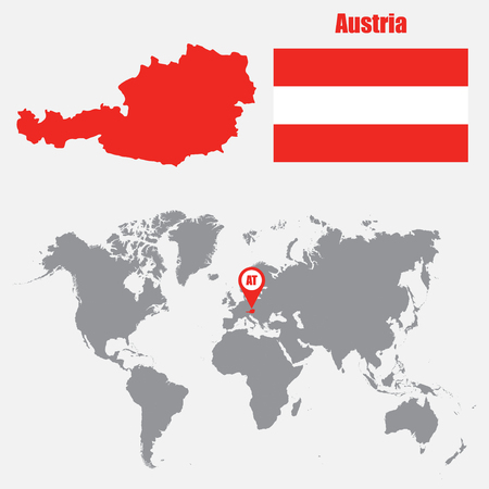 austria map: Austria map on a world map with flag and map pointer. Vector illustration