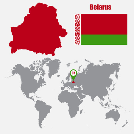 Belarus map on a world map with flag and map pointer. Vector illustration