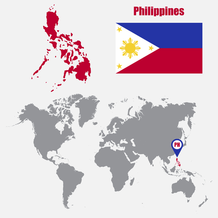 philippines map: Philippines map on a world map with flag and map pointer. Vector illustration Illustration