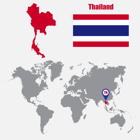 indochina peninsula: Thailand map on a world map with flag and map pointer. Vector illustration