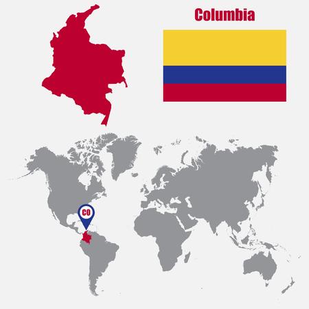 bandera de panama: Mapa de Columbia en un mapa del mundo con la bandera y el puntero del mapa. ilustración vectorial